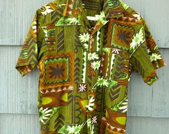 Hawaiian Surf brand Hawaiian shirt, green black and black pattern, size Small, 50s 60s style