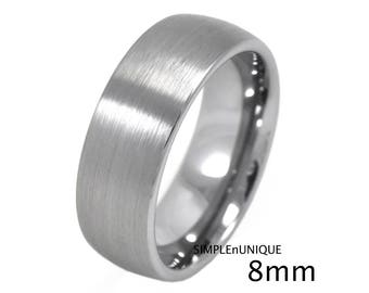 4mm 6mm 8mm Tungsten Wedding Band Womens Mens Ring Promise Ring for Her Him His and Hers Ring Couples Tungsten Band Classic Dome Brushed