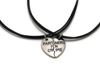 Partners in Crime Choker, Best Friends Choker, Best Friends Gift, Friendship Choker,  BFF Choker, BFF Gift, Friendship Gift, Gift for Bestie