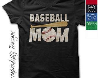 Baseball Mom Shirt - Custom Baseball Shirt / Womens Customized Tshirt / Sports Mom Clothing / Baseball Bat Tee / Black Tball Mom TShirt