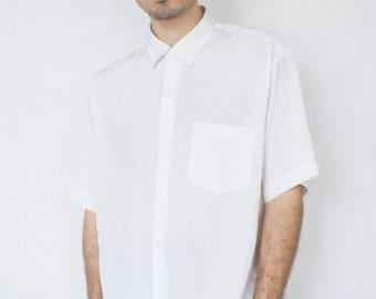 FAUX CARTIER SHIRT -white, short sleeve, 90s, vaporwave, hip hop, elegant, silk, satin, aesthetic, summer, party, elegant-