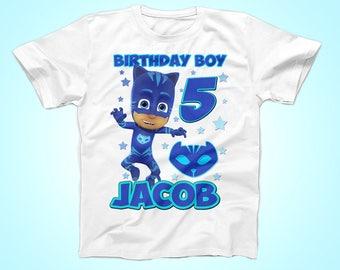 Catboy Birthday Shirt, PJ Masks Birthday shirt, Super Hero Birthday tShirt, Party Shirt