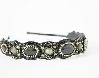 Black bronze headband Beaded headband Beaded embroidery headpiece Bead embroidered headband Women headband Hair accessories Tiara medieval