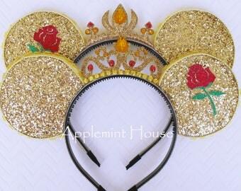 Belle Ears,Belle Minnie ears,Belle Mickey Ears,Elena ears,Minnie Mouse ears,Disney Ears,Princess Minnie Ears,Beauty and the Beast Ears
