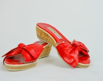 Red Bow | 6 | 1970s EMME UNO Slip On Wedges 70s Red Leather Cork Heels Vintage Italian Shoes Slip On Mules