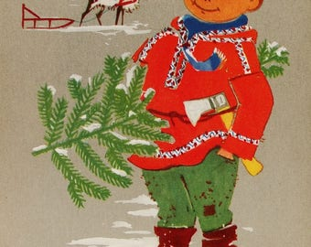 Merry Christmas! Happy New Year! - Vintage German Postcard, 1970s. Boy Christmas tree Reindeer Sledge Winter Print