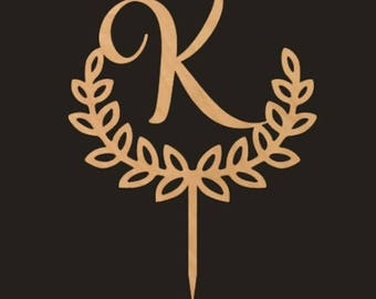 DIY Cake Topper, Monogram Laurel Wreath Cake Topper