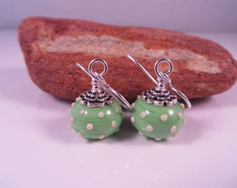 SRA handmade lampwork earrings,Polka Dots,bright green,.925 Sterling Silver Earrings