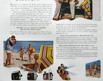 1953 Eastman Kodak Movie Camera Ad - 1950s Family on Beach Vacation - Nostalgic Advertising Art