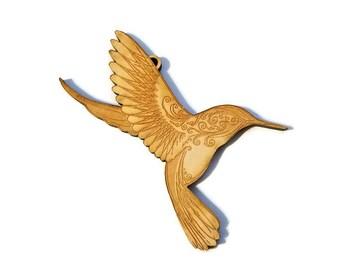 Hummingbird Christmas Ornament - Wooden Hummingbird -  Wood Ornament - Wooden Bird Ornament - Christmas Ornament - Unique Ornaments
