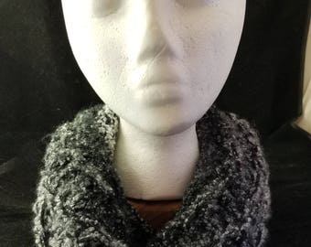 Black and Gray Knit Cowl