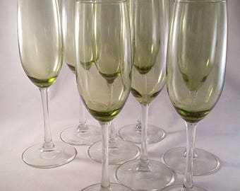 Light Green Champagne Flutes Set of 8