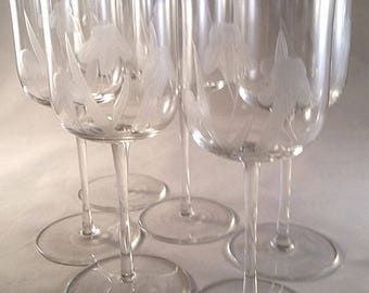 Wine Glasses / Goblets Daffodil Etched Stemware S/6
