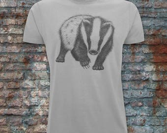 Men's Badger tee. Cotton ethical tshirt for men. Badger design t-shirt for men. Unique men's artwork t-shirt.