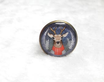 Ring round cabochon Winter Reindeer