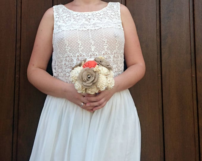 SMALL ivory Coral reef rustic burlap flowers beach summer wedding BOUQUET sola Flowers lace Bridesmaid toss flower girl roses vintage custom