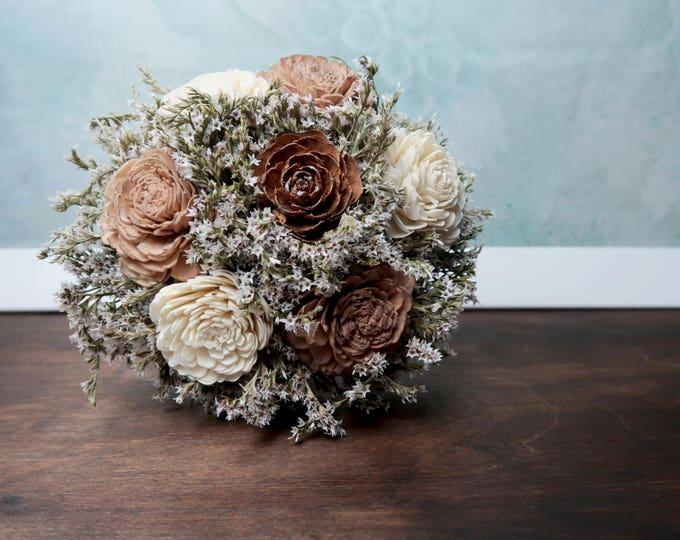Ivory brown caramel bronze sola flowers wedding BOUQUET dried limonium satin ribbon lace Flower girl Bridesmaids vintage elegant custom toss