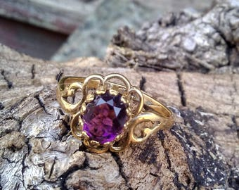 Purple Oval Ring/Purple and Gold Oval Ring/Size 7.5 Purple Ring/Oval Purple Ring/Ladies Purple Oval Ring/Womens Purple Oval Ring