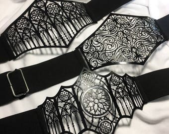 Waist belt Metal Filigree , handmade in italy finished in gloss black paint