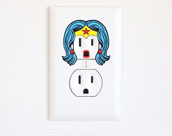 Wonder Woman - Electric Outlet Wall Art Sticker Decal - Classic/Retro/Vintage
