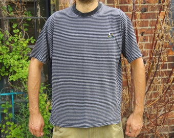 90's GRAY / BLACK RINGER golf striped t-shirt size extra large