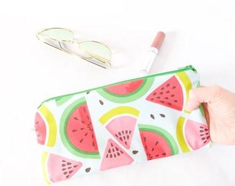 JUICY WATERMELONS Pouch.Cute Watermelon Bag.Bachelorette Gift.Bachelorette Party. Cute Pencil Pouch.Small Xmas Gift. Watermelon Pencil Case