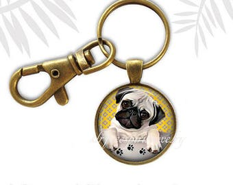 Pug Puppy key chain, Cute Pug Puppy, Pug puppy in Cup, Dogs, pedigree dogs, Puppy, Cute, Gift for Teen, Pug gift, Gift under ten