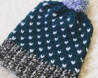 Crocheted Fair Isle Beanie - Teal and Grey