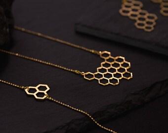 Bracelet Gold Fine chain honeycomb balls