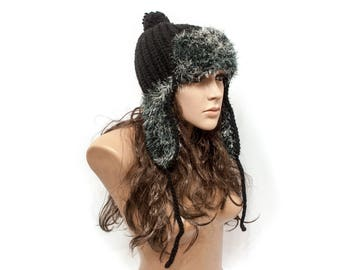 Black knit hat Pom pom hat Gift for her Hat with ears Hat with a visor Knit accessories - Ready to Ship