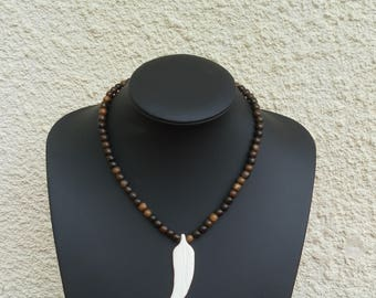 Feather bone and wood Bead Necklace