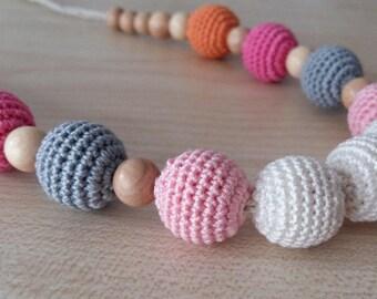 Nursing necklace Teething necklace Breastfeeding Nursing toy Eco-frendly WOOD Juniper Organic cotton Pink necklace