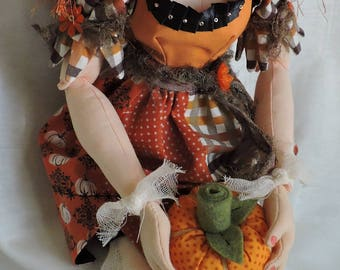 Cloth Art Doll, OOAK, Witch with Orange Hair