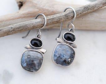 Sterling Silver Modernist Gemstone Earrings, Onyx Dangle Earrings, Modernist Gemstone Dangle Earrings, Chatoyant Gemstone Earrings