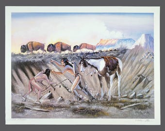 Vintage Paha Ska Giclee Print Native American Limited Edition 1440/1500 26 x 20 Vintage Hunt Hunting Man Men With Horses