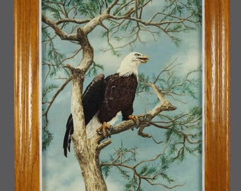Vintage Zoe Wilde Oil Painting Bald Eagle Vintage Art 12 x 16
