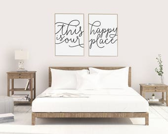 This Is Our Happy Place / Set Of 2 Print Posters -  Typewriter Look, Quote Prints, Bedroom Above Bed Art, Cute Prints, Print Pack