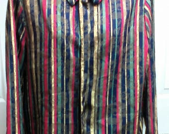 Vintage Colorful Fall Colors Blake by Devon Long Sleeve Button Up Blouse With ILGWU Union Tag