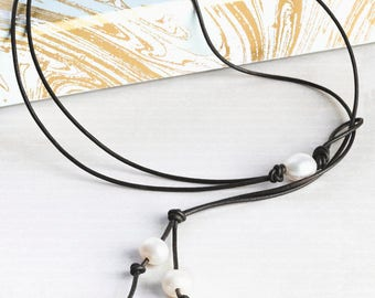 Pearl Leather Lariat necklace, anniversary gift under 50, Leather pearl Y necklace - Bohemian necklace - Mothers day Pearl Necklace -