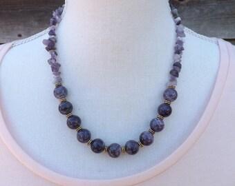 Amethyst necklace, purple necklace, semi-precious jewellery, Boho jewellery, Gypsy necklace, summer necklace, pretty festival necklace