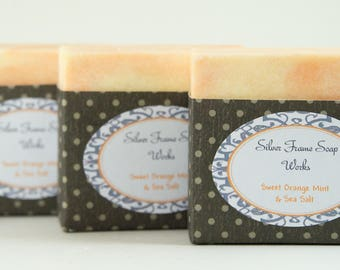 Sweet Orange Mint & Sea Salt Soap - Essential Oils - No synthetic fragrances - Handmade and Long Lasting