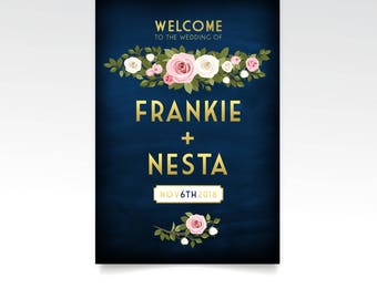 The FRANKIE . Rose Garland Welcome Sign Gold & Wedding Chalkboard White Blush Pink Rose Floral Green Foliage . Paper . Foam Board . Canvas