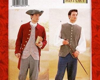 Butterick Sewing Pattern 3072 Men's Historical Costumes, 1700's Georgian Colonial, Sizes 32 34 36, Coat Vest Shirt Pants, Tricorn Hat, UNCUT