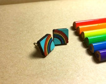 Wood Rainbow Earrings, small gift