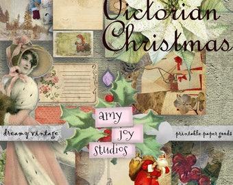 Victorian Christmas Digital Download  printable journal kits  Junk journal kit  diy Journal Kit  vintage Christmas printable  ephemera pack
