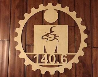 "22"" Wood Ironman 140.6 Triathlon Swim Bike Run Laser Cutout Shape Unfinished"