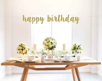 HAPPY BIRTHDAY glitter banner, script lettering, photo backdrop, party decoration
