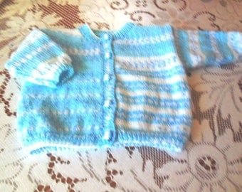 BEAUTIFUL little CARDIGAN 3 to 6 months - handknitted - button 5 small dog