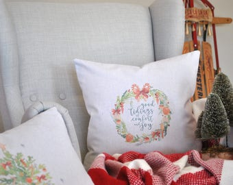 Christmas Wreath Farmhouse Pillow Cover | Good Tidings Farmhouse Pillow Cover | Farmhouse Throw Pillow | Rustic Christmas Pillow Cover