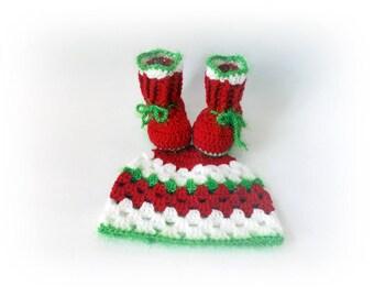 Christmas Baby hat booties Santa baby set Baby boots Red Booties Baby hat Christmas hat Newborn boots Christmas Baby Boots